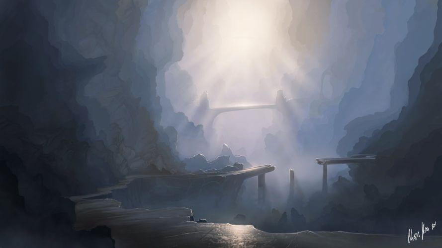 mountains rocks sun canyon art Gorge Bridge wallpaper