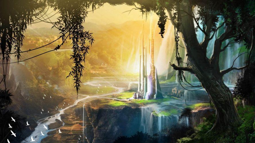 open fantasy world landscape tower view art wallpaper