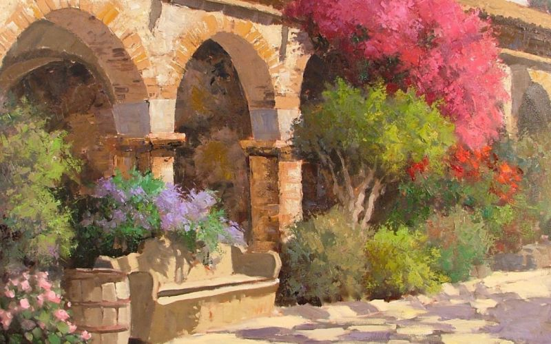 park shop art trees benches flowers benches arches wallpaper
