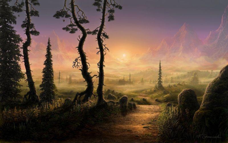 path road fel-x landscape trees mountains art wallpaper