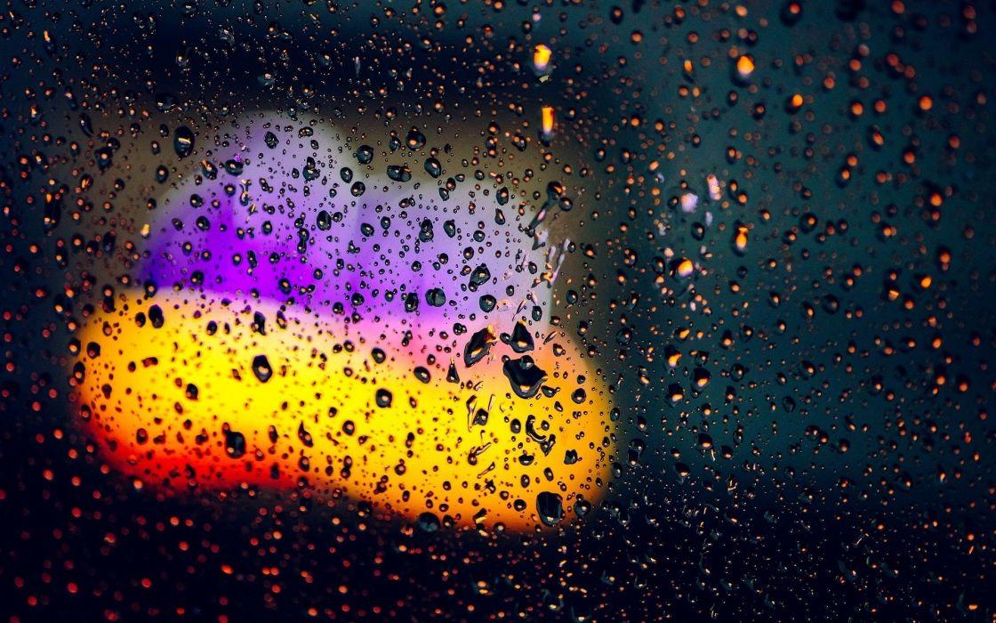 rain drops lights background blur close-up glass water wallpaper
