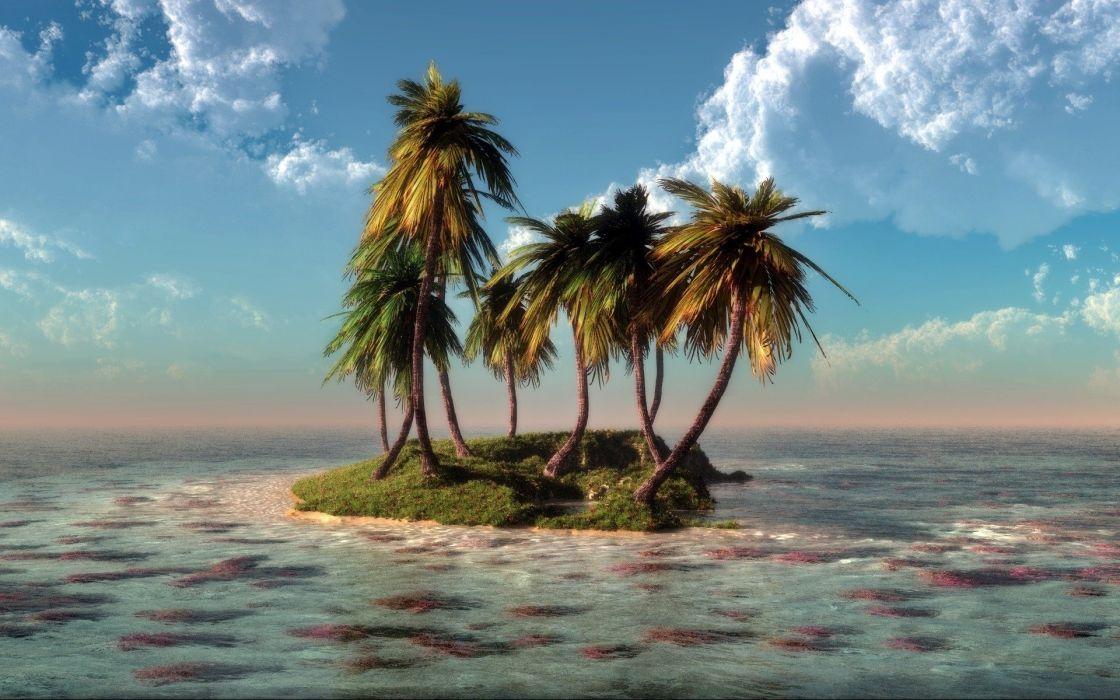 Sea Island klontak water trees art clouds nature wallpaper