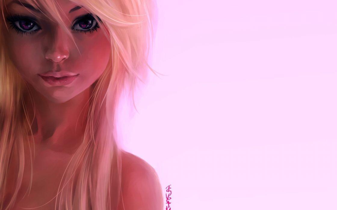 portrait girl blonde ink-pot pink background art wallpaper
