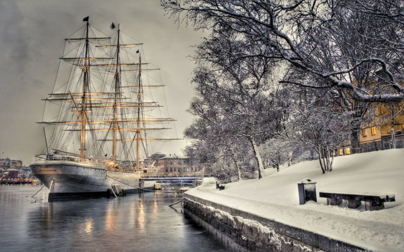 sailboat dock quay snow wallpaper