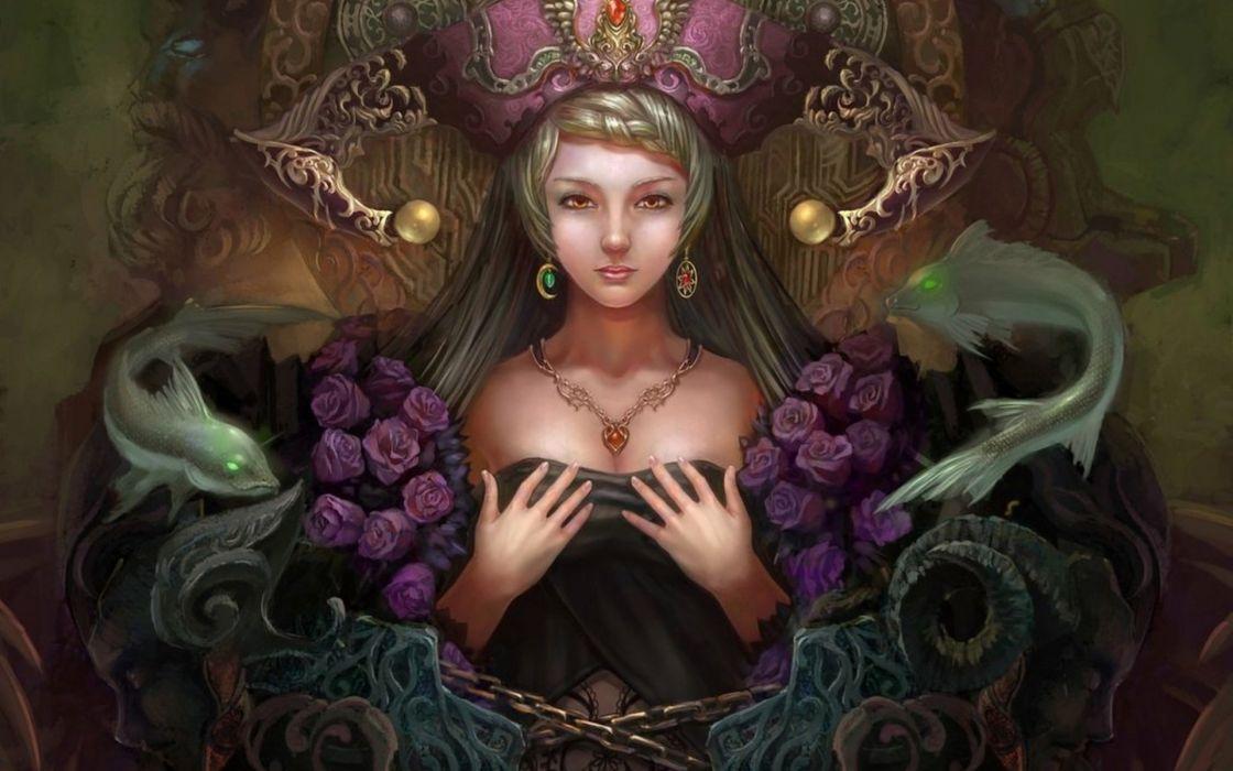 rose girl fantasy art hand yuxuan li jewelry chain wallpaper