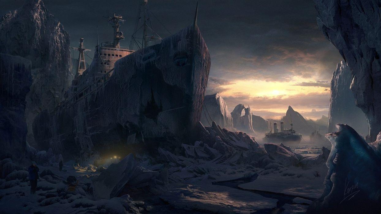 People Glacier gvozdenkoyura cold ships snow ice floes art wallpaper