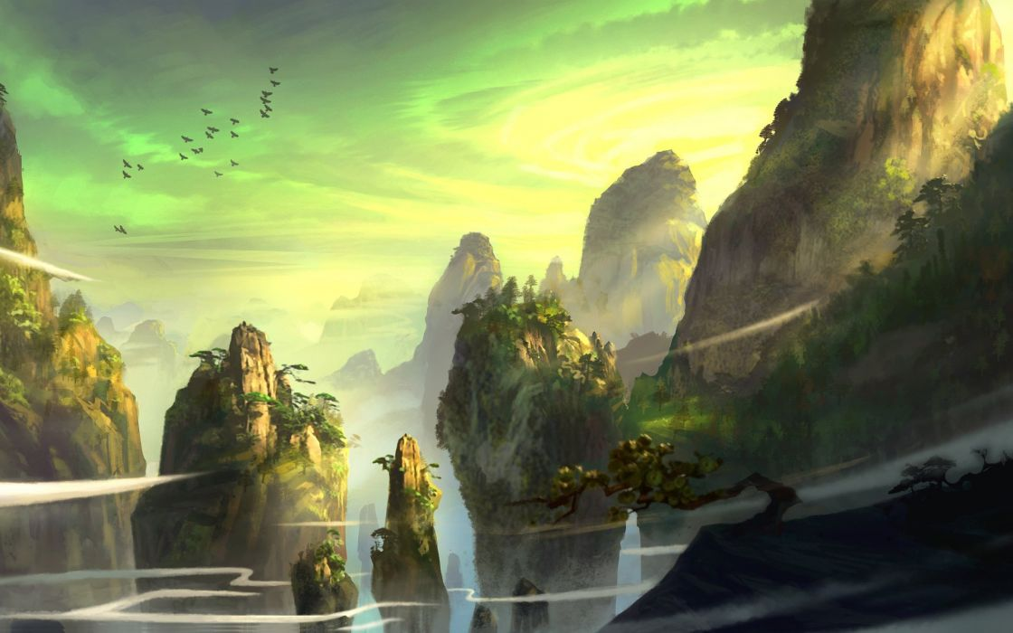 pine art mountains rocks pursue trees feng liu birds wallpaper