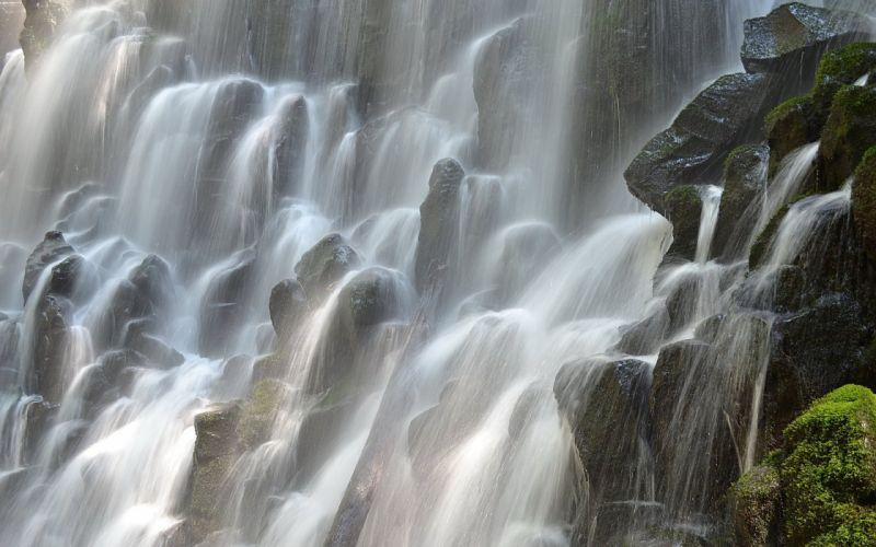 Ramon waterfall streams oregon moss spray stones wallpaper