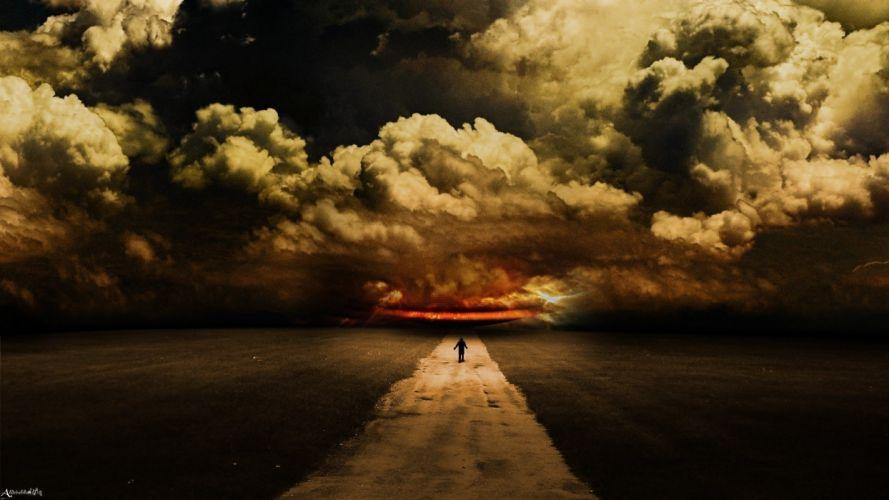 sky clouds art road Abdelrahman man wallpaper