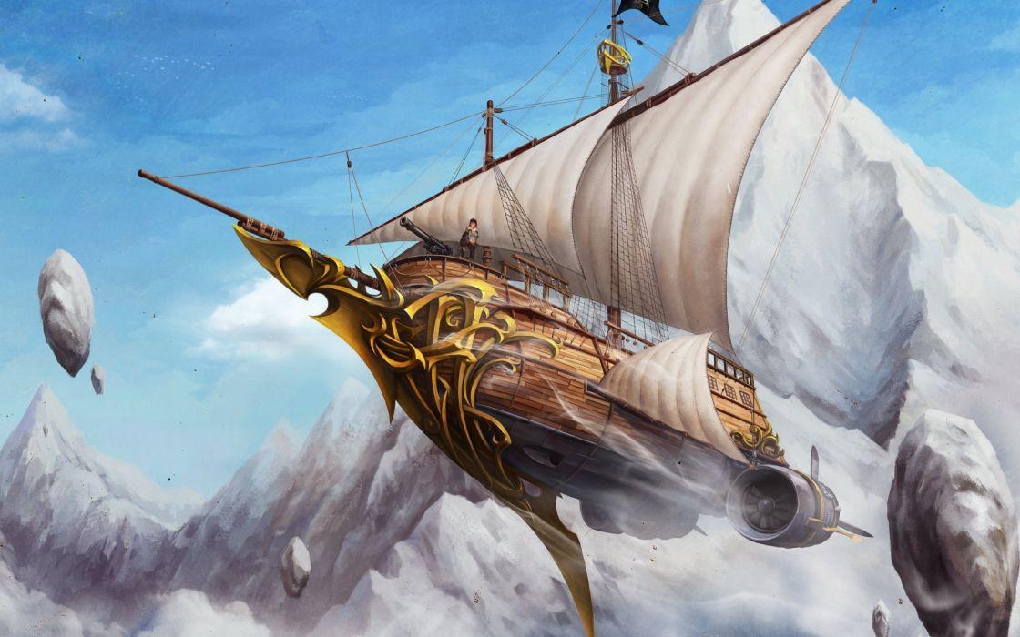 rock ship flying rocks sails people art wallpaper