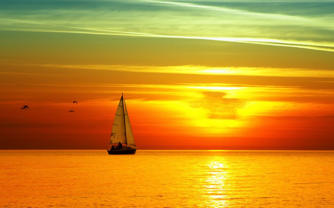 sail brightly yacht sea sunset wallpaper