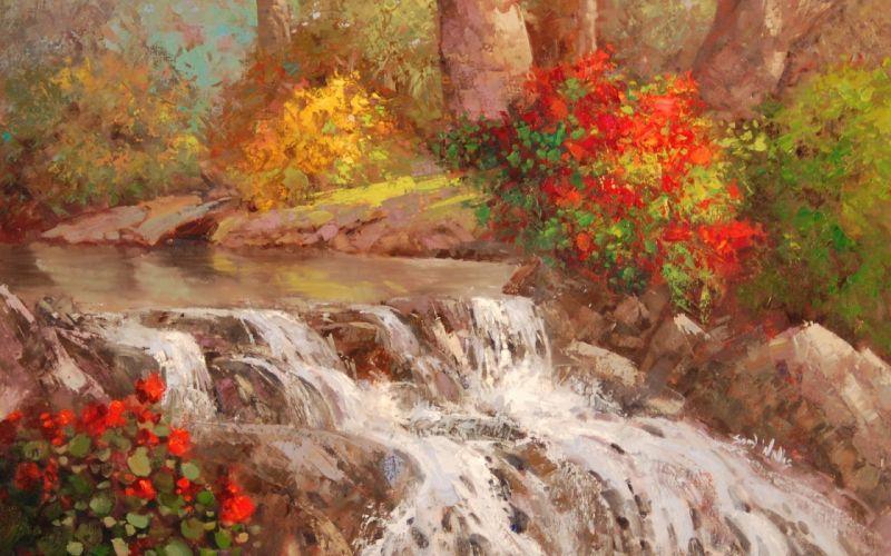 river waterfall water trees bushes art wallpaper
