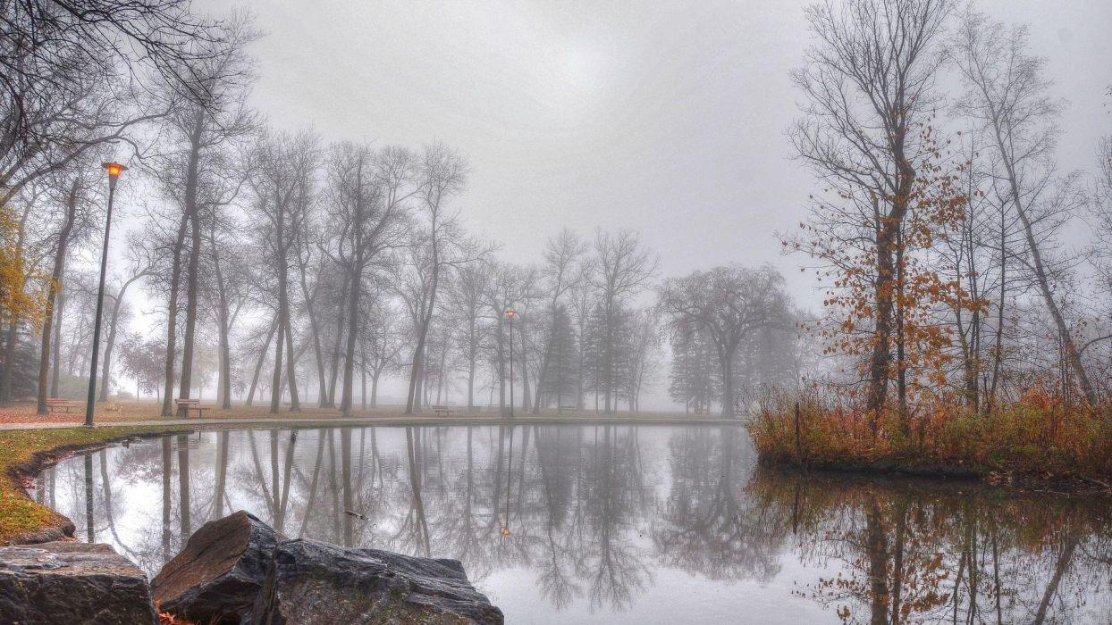 pond foggy autumn day bench  wallpaper