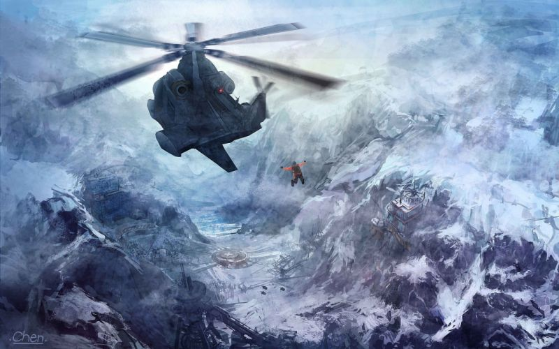 snow art richard chen helicopter flight mountains people base wallpaper