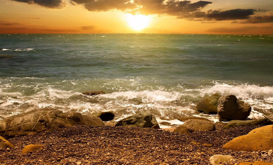 rocks sea waves sun west nature wallpaper