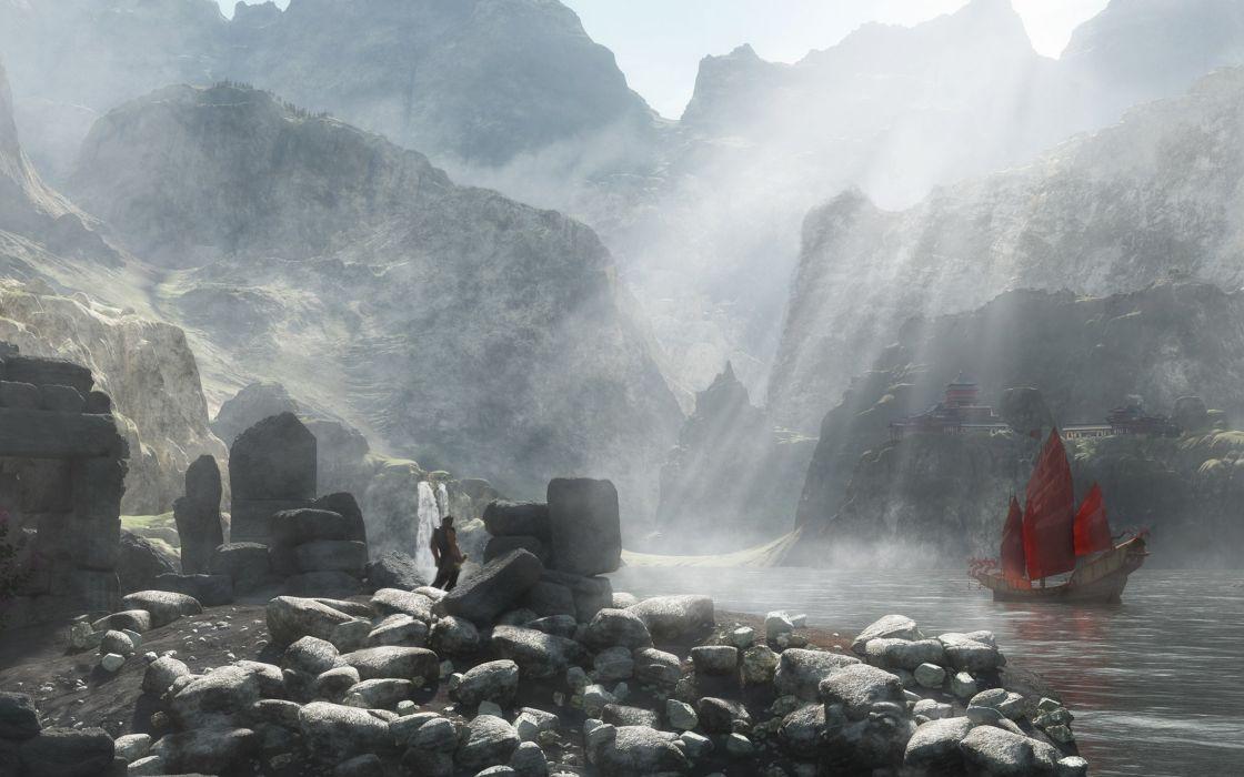 rocks stones sword lake ship render man wallpaper