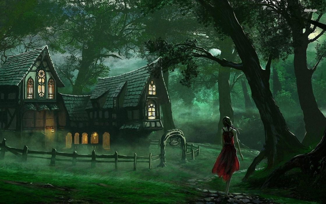 Realistic Little Red Riding Hood Forest Wallpaper