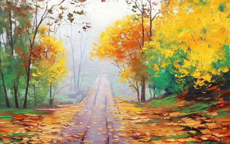 road through the mist аrt artsaus wallpaper