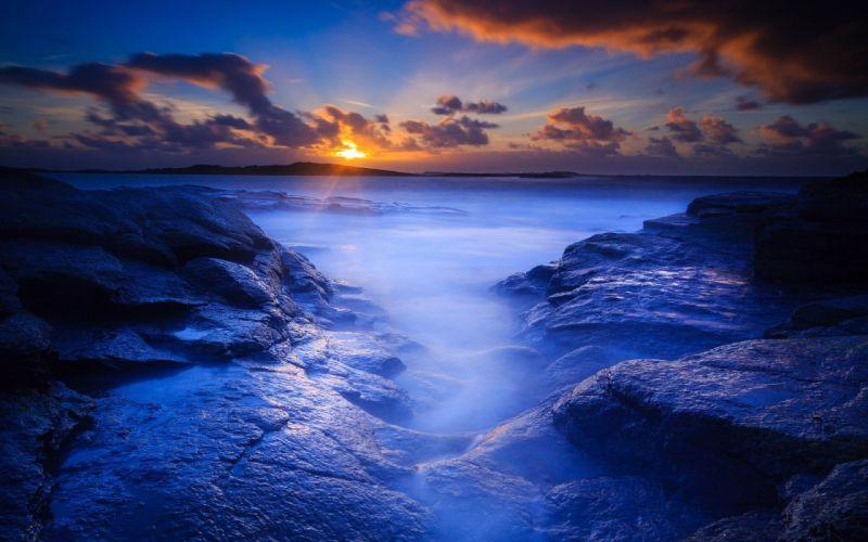 rock beach dawn morning wallpaper