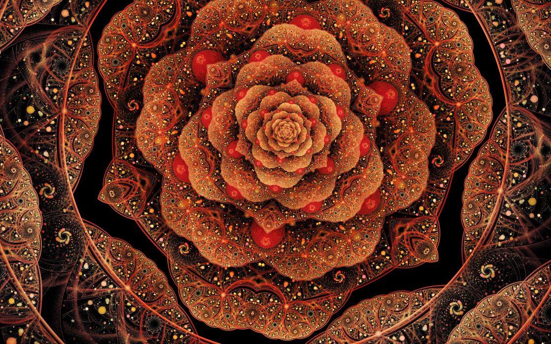petals fractal flower patterns art wallpaper