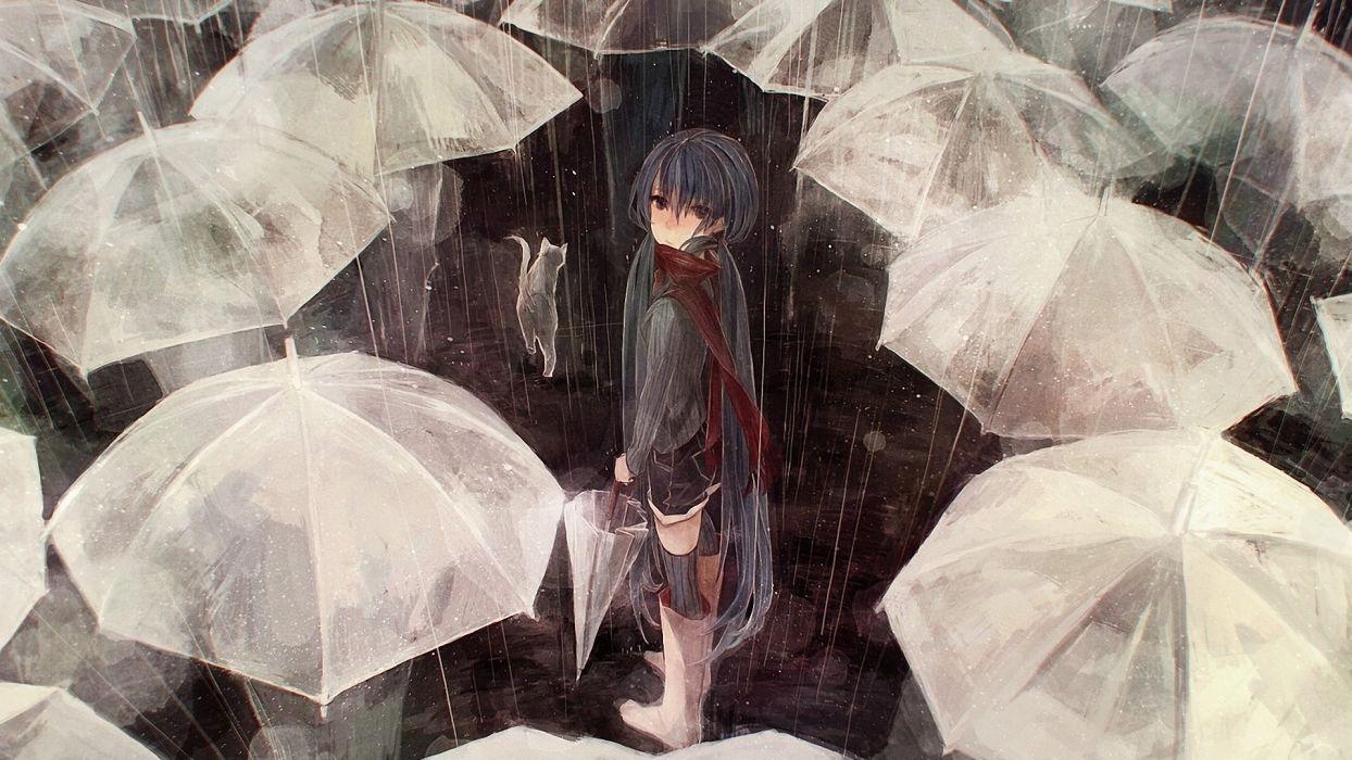 rain people art vocaloid umbrellas cat hatsune miku cat umbrella wallpaper