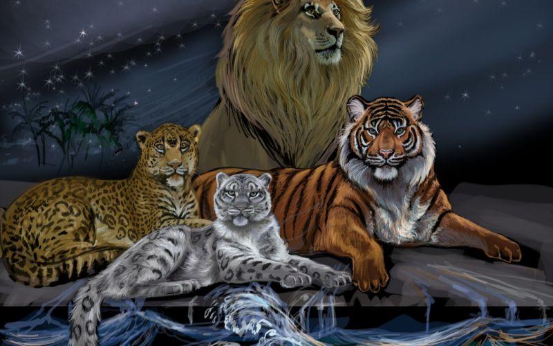 predators mane eyes painting art lion animals wallpaper