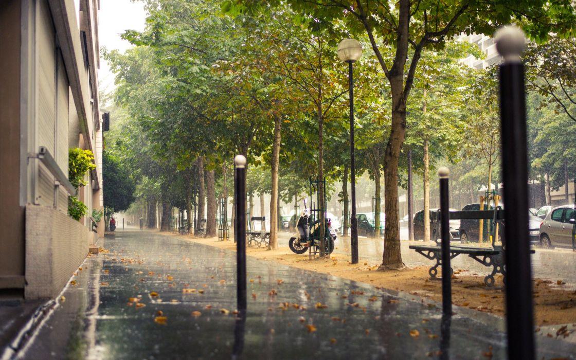 rain city sidewalk paris paris france france street wallpaper