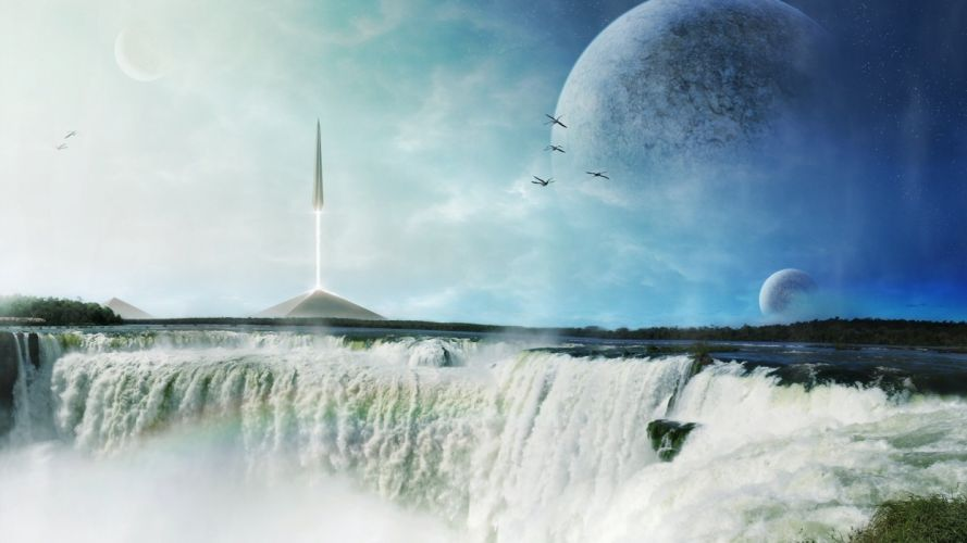 spire ship planets the waterfall the pyramids the rocket art wallpaper