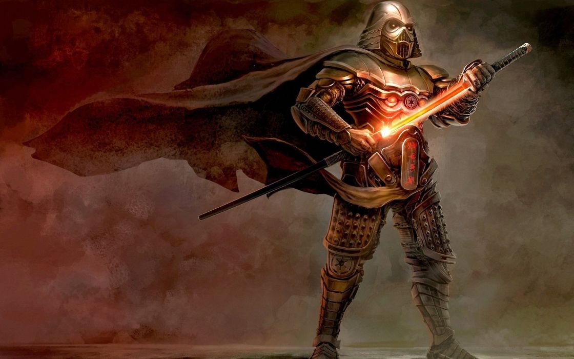 Vader Raincoat Wind Art Sword Samurai Armor Star Wars Helmet