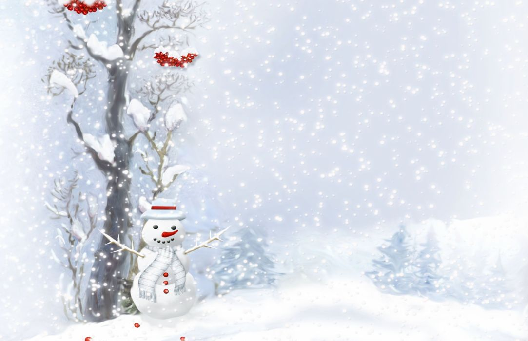 snowman scarf buttons wood berries trees snow wallpaper