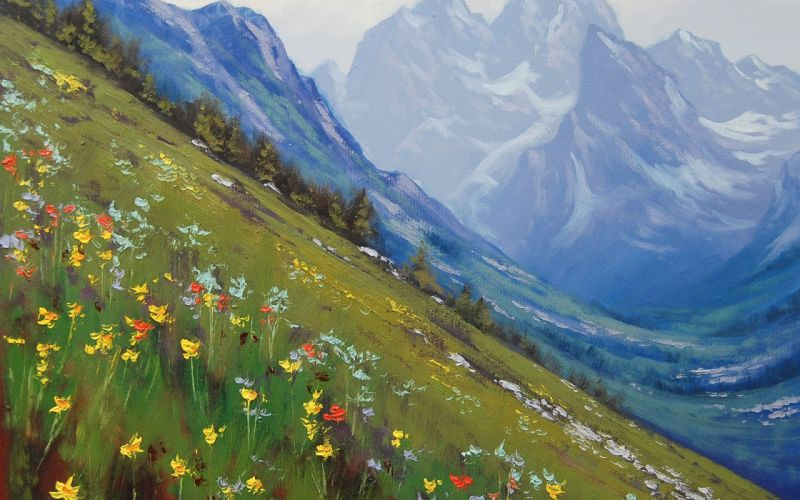 spring in the rockies art mountain wallpaper