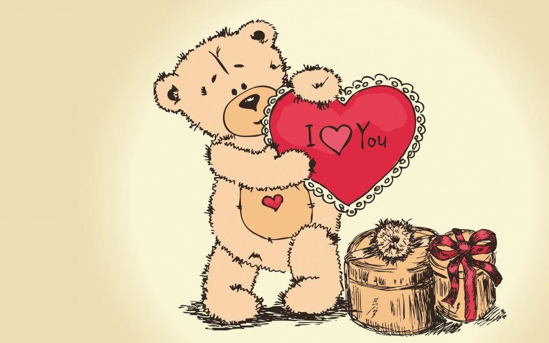 teddy bear drawing heart paint love wallpaper