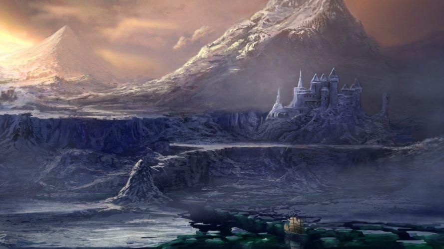 water castle rock ship mountain sailing art sea wallpaper