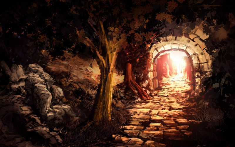 tunnel exit art light entrance stone trees arch wallpaper