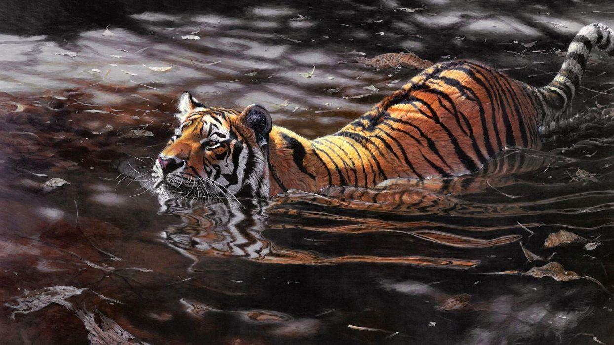 swimming tiger animal art wallpaper