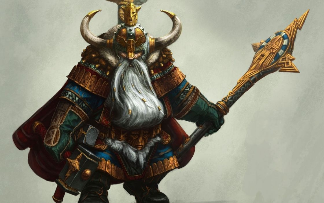 staff gnome beard armor art hammer horn helmet warrior wallpaper