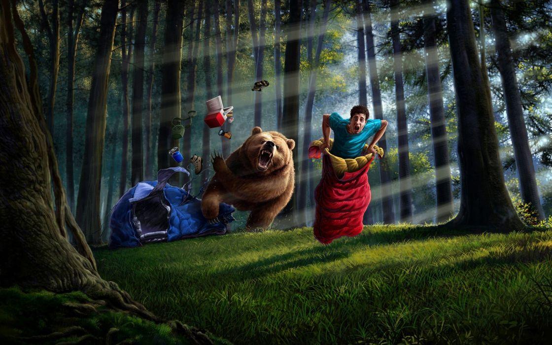 things art man forest bear tent sleeping bag wallpaper