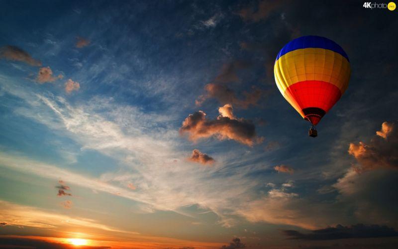 west Balloon clouds Sky sun wallpaper