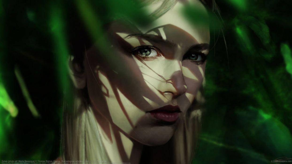 thoma bignon beauty fantasy girl green eyes wallpaper