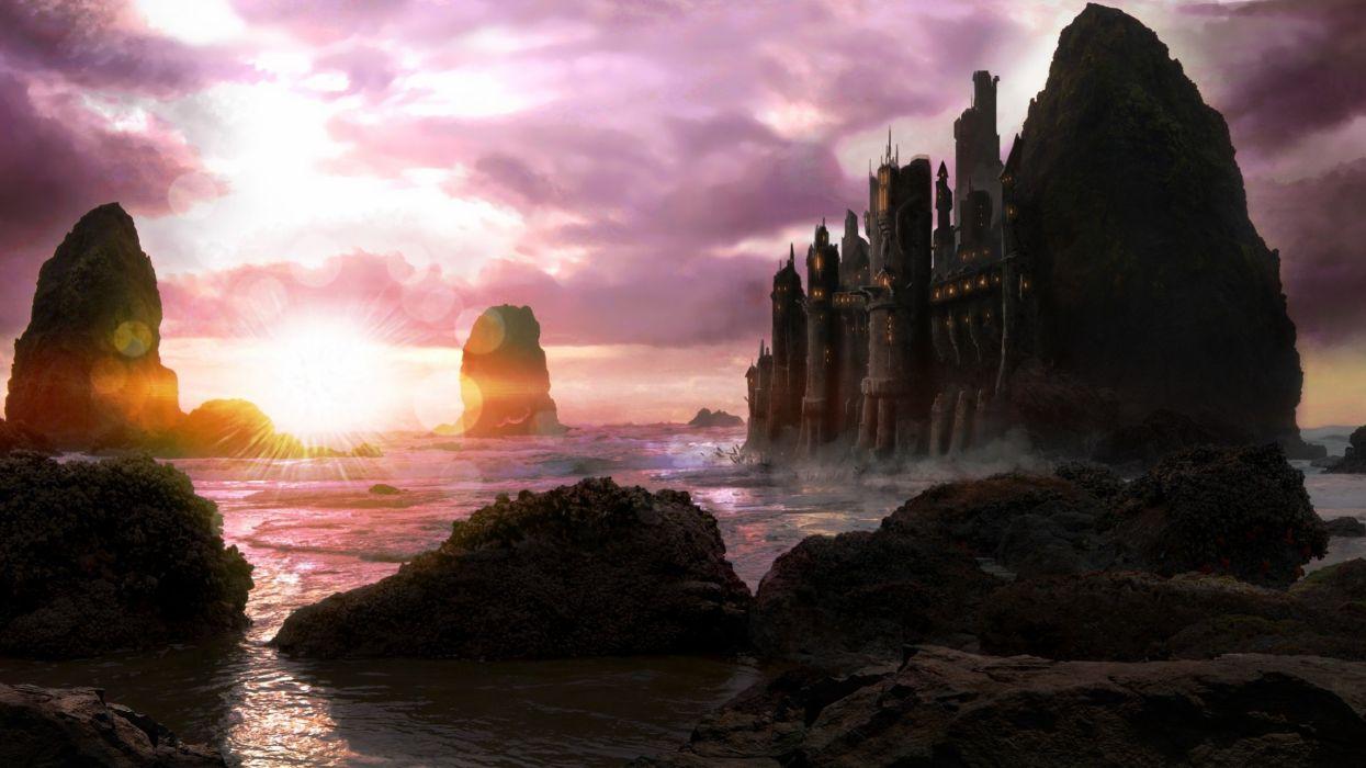stones rocks art sunset clouds castle sea wallpaper