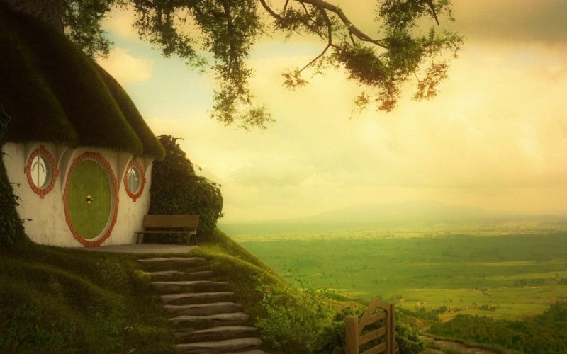 the shire the lord of the rings art movie house wallpaper