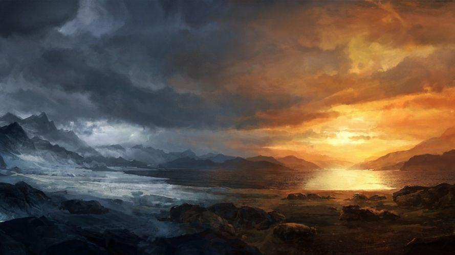 stones sunset lake art seasons cold mountains clouds snow wallpaper