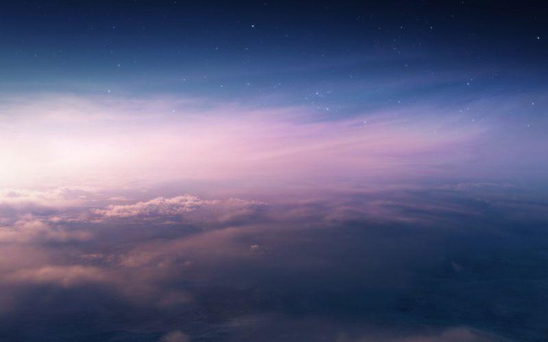 sunset art clouds stars sky mountain wallpaper