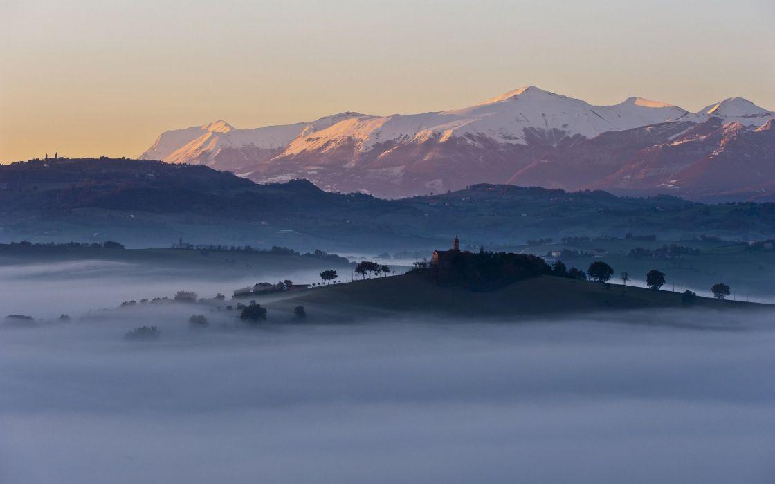 trees hills mountains morning Regnano italia Housing fog wallpaper