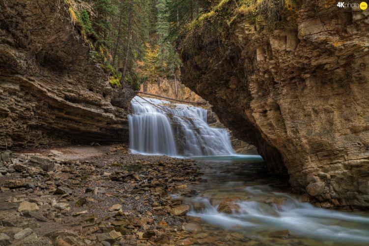 stones viewes rocks waterfall trees wallpaper