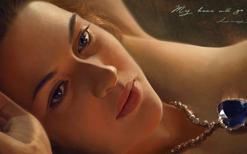 titanic painting art movie girl blue eyes wallpaper
