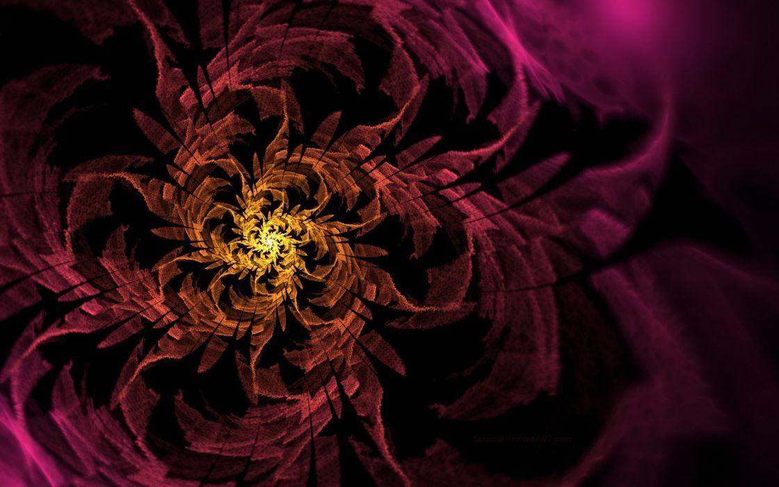 yellow art flower spiral pattern pink wallpaper