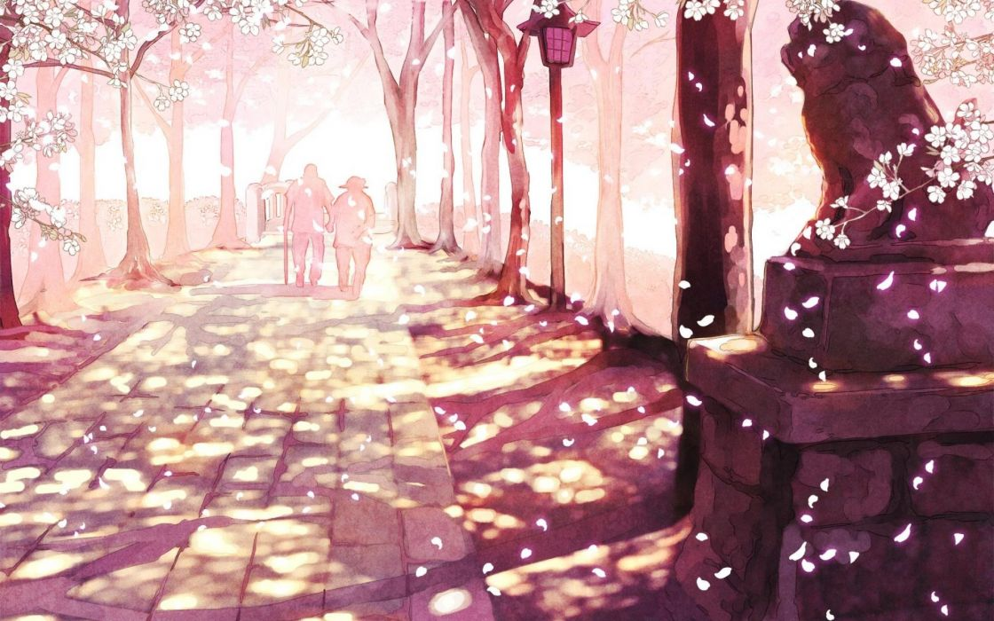 Anime Scenery Cherry Blossoms wallpaper