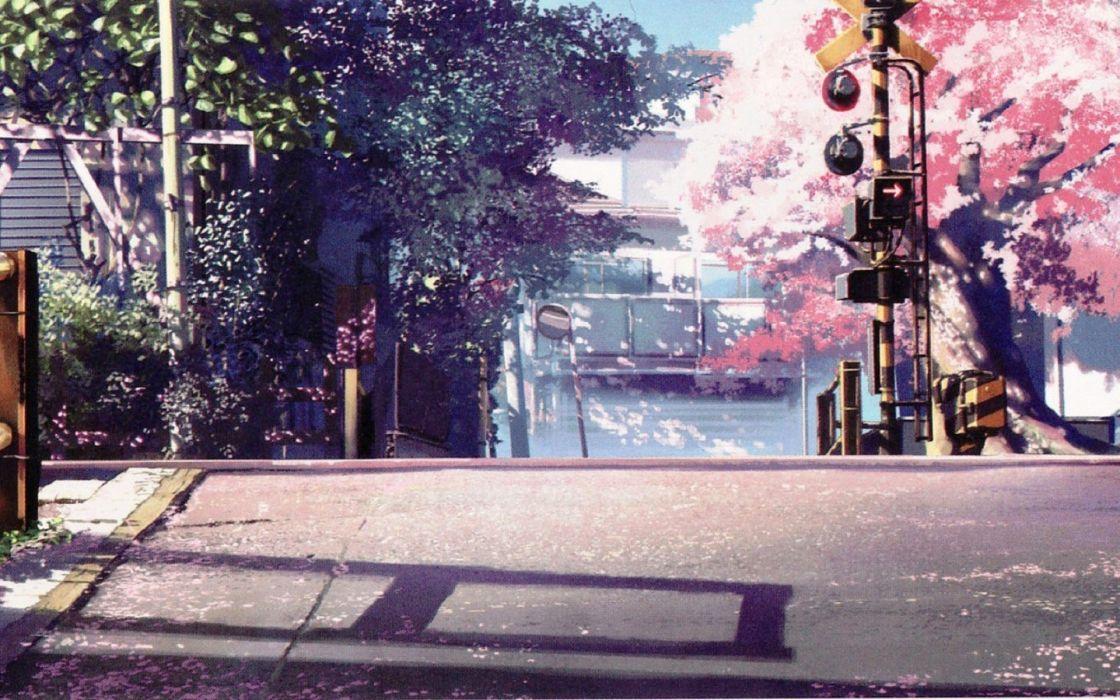 Anime Scenery Cherry Blossoms Road Wallpaper 1920x1200 1018351