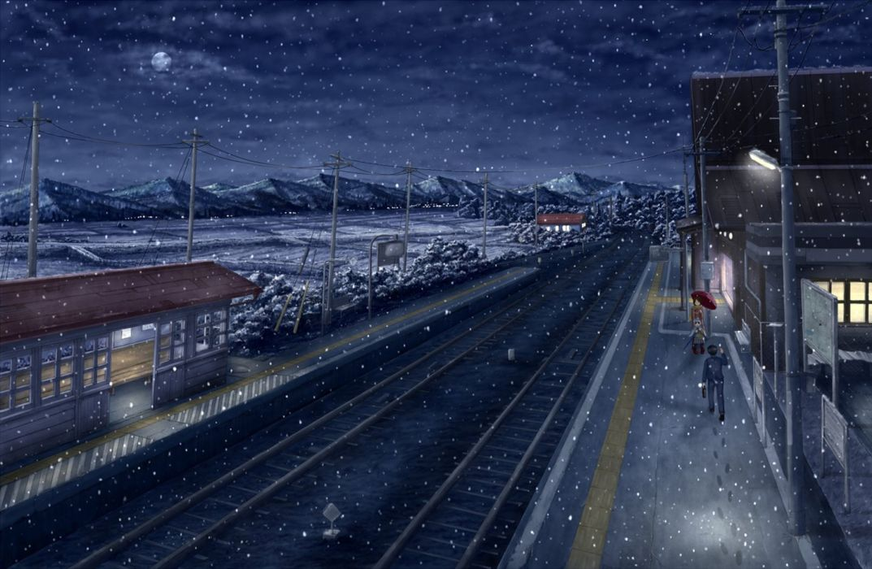 snowing train station scenery landscape snow winter wallpaper